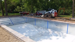 Picture Of A Pool Mid-Installation In Greenfield, IN - Dave's Pools